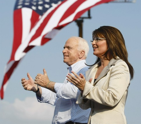 McCain and Palin American flag