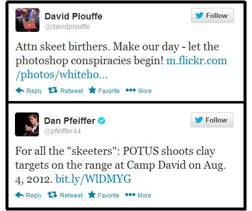 Plouffe and Pfeiffer Mocking Tweets