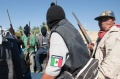 Community militias in Mexican state of Guerrero, present suspected criminals in El Mezon plaza.
